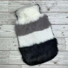 Black, Grey and White Stripe Luxury Fur Hot Water Bottle - Luxury Fur Hot Water Bottle Cover