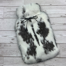 black and white real fur hot water bottle cover front view