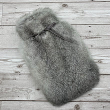 Chinchilla Grey Rabbit Fur Hot Water Bottle - Small