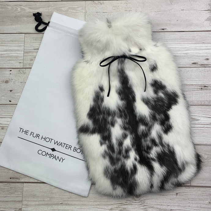 Photo of a black and white fur hot designer hot water bottle 167-1