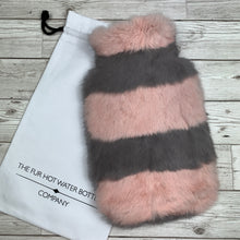 Pink and Grey Luxury Fur Hot Water Bottle - Luxury Hot Water Bottles - Premium