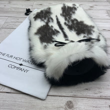 black and white luxury fur hot water bottle covers