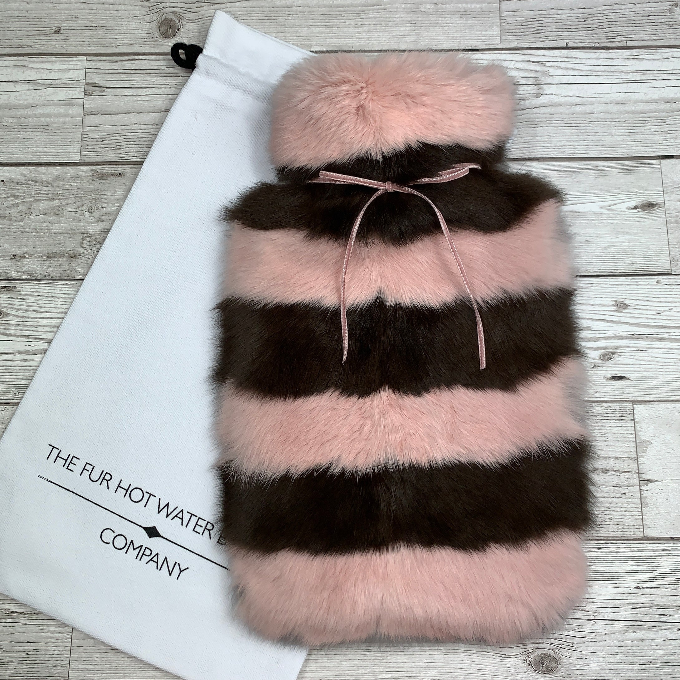Pink, Brown and Grey Luxury Fur Hot Water Bottle - Designer Hot Water Bottle Cover - only 1 remaining.