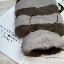 Brown and Grey Luxury Fur Hot Water Bottle - the ultimate luxury hot water bottle cover