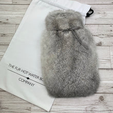 Chinchilla Grey Rabbit Fur Hot Water Bottle - Small 3