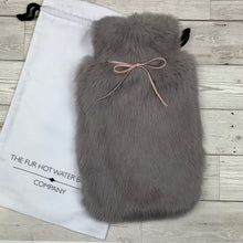 NEW for 2020 Luxury Grey Rabbit Fur Hot Water Bottle with Pink Ribbon - Large