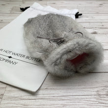 Chinchilla Grey Rabbit Fur Hot Water Bottle - Small 1
