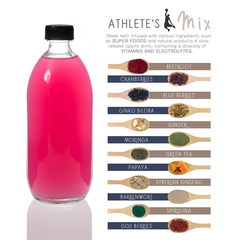 Jaciana Foods Water Kefir on tap REFILL - ATHLETES MIX 500ml & 1L