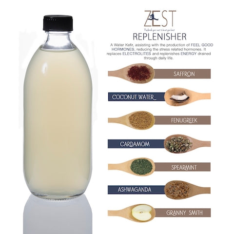 Jaciana Foods Water Kefir on tap REFILL - ZEST REPLENISHER 500ml & 1L