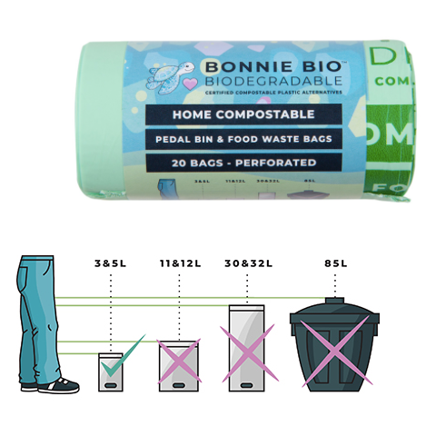 Bonnie Bio - 20 Compostable Pedal Bin Bags – 3-5L
