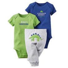Baby green and blue Dino 3-Piece Set
