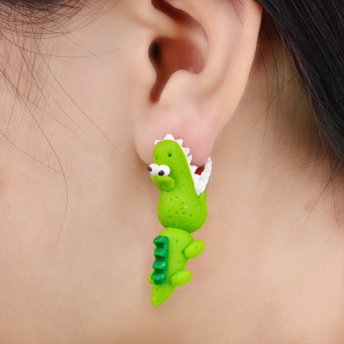 Bite-On Alligator/Dino Clay Earrings