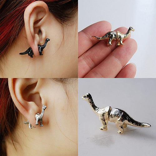 Front and Back 3D Brontosaurus Earrings