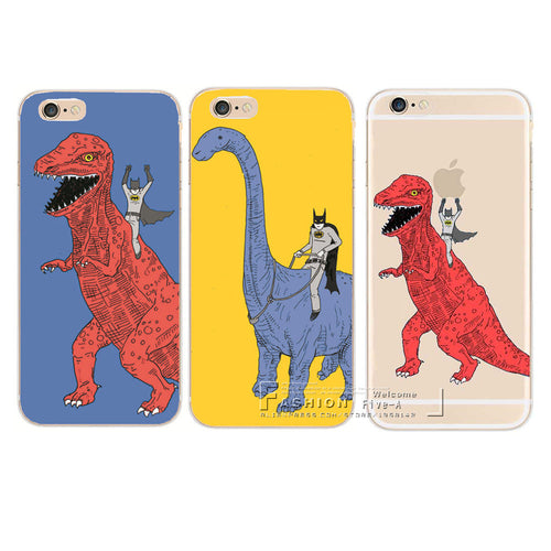 Batman Riding Dinosaur iPhone Case