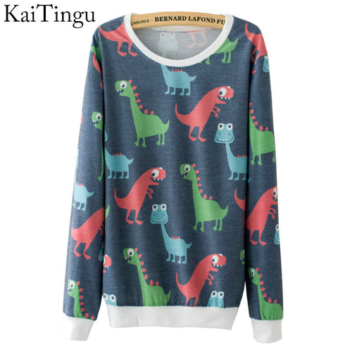 Cartoon Dino Patterned Long Sleeve Sweater