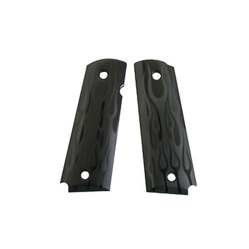 Extreme Series Grips - Flames Aluminum, Black Anodized, Government