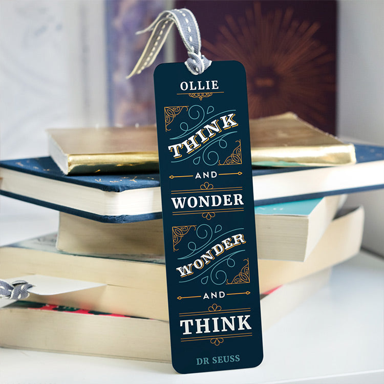 personalised metal bookmark with dr seuss quote