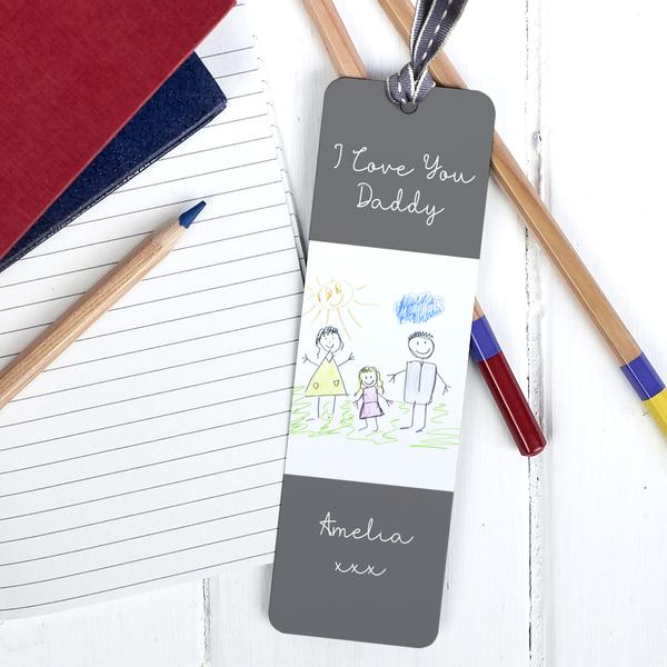 Unique personalised Father's Day Gift | Your Child's Drawing on a metal bookmark