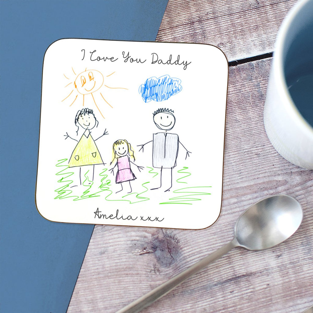 Unique personalised father's day gifts for dad under £10 | Child's Drawing Coaster