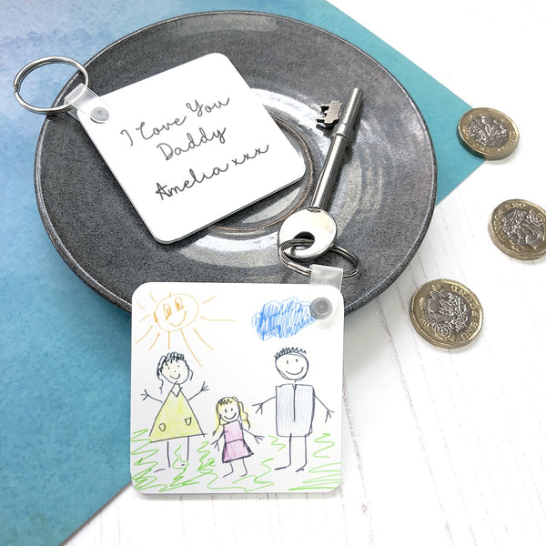 Unique personalised Father's Day Gift | Your Child's Drawing on a Keyring