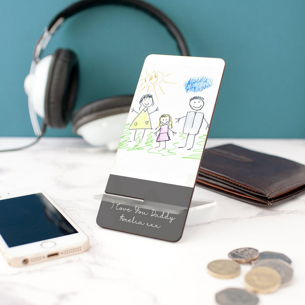 Unique personalised gift for father's day | Your child's drawing on a phone stand