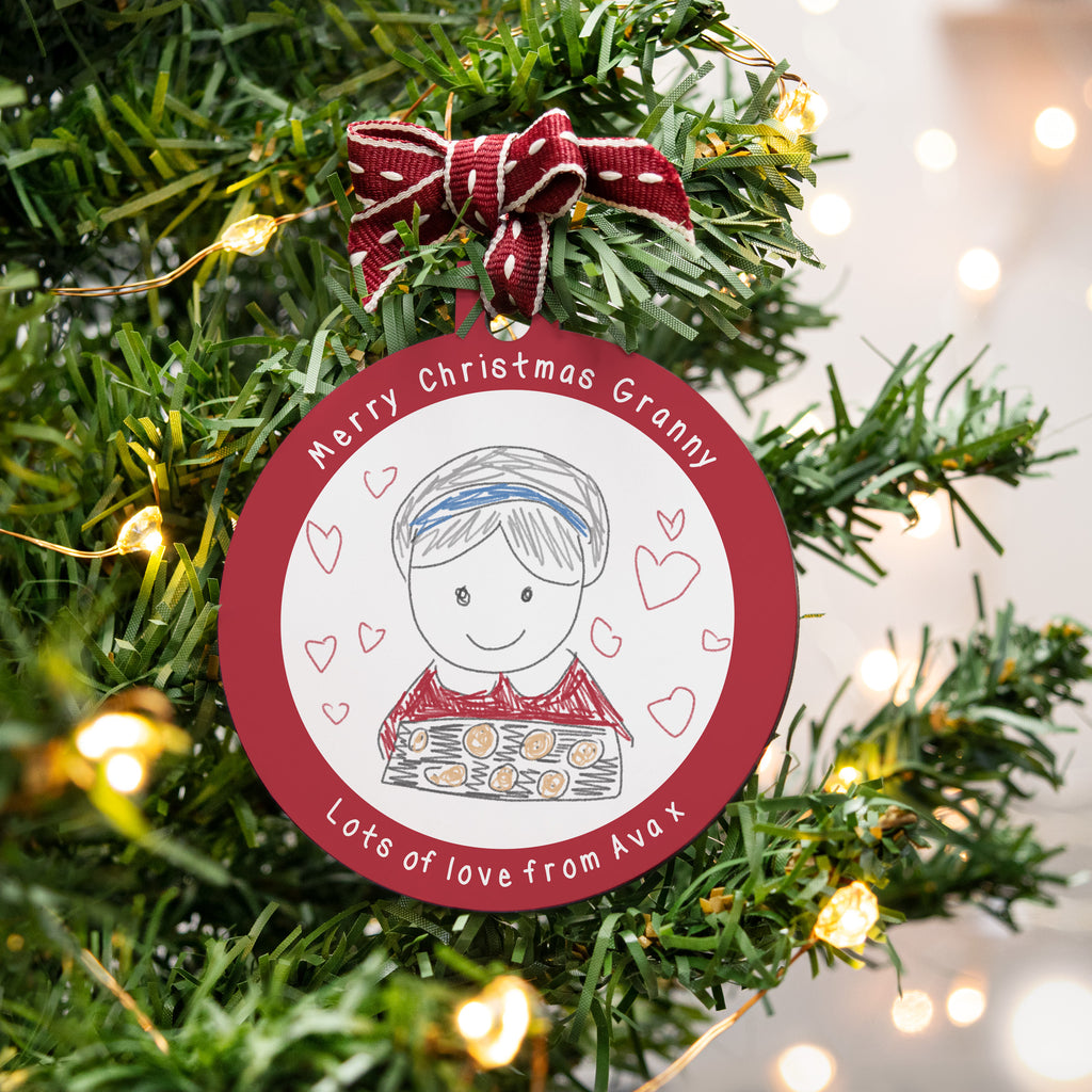 Personalised child's drawing bauble