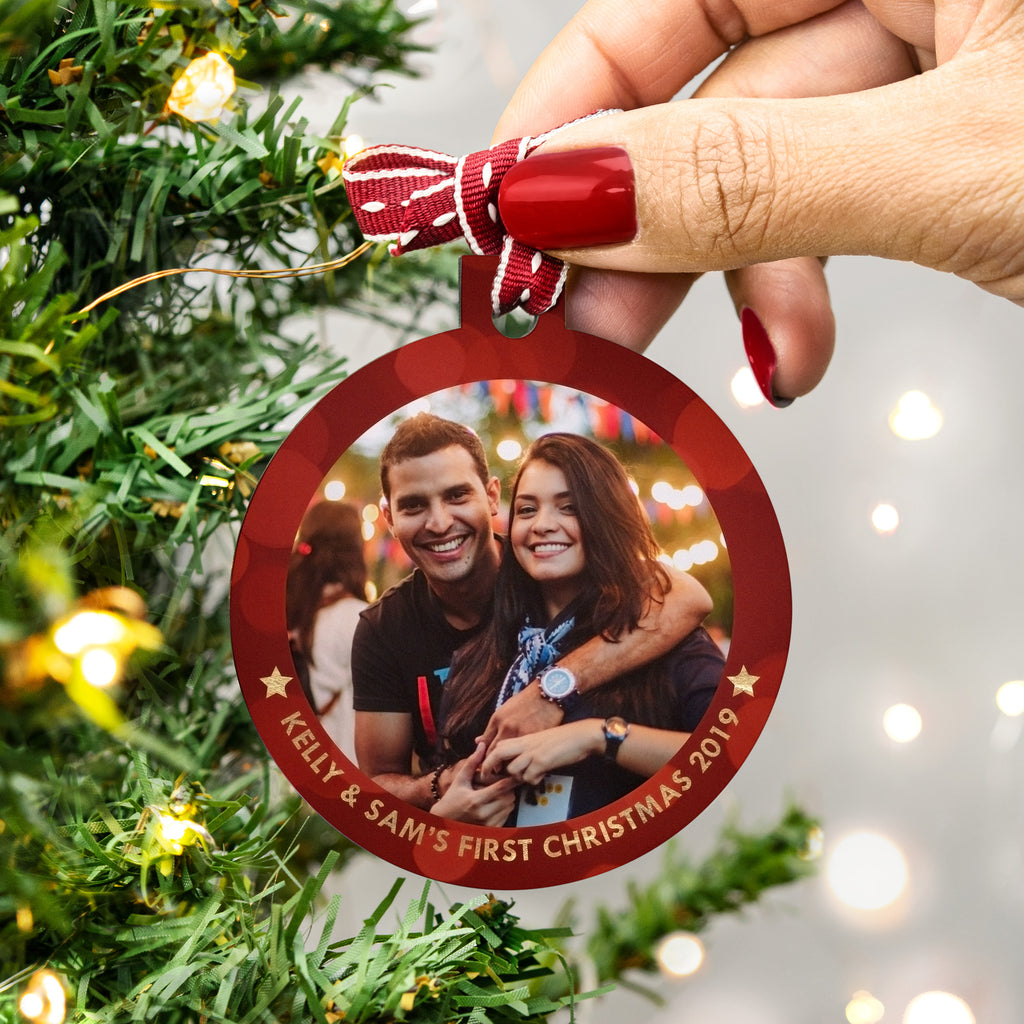 personalised couple's first christmas photo bauble