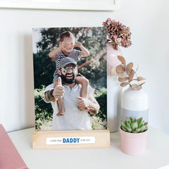 Personalised metal photo print and stand for Father's Day