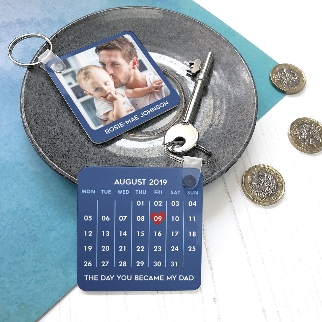 Personalised calendar keyring gift for new dad day the baby was born