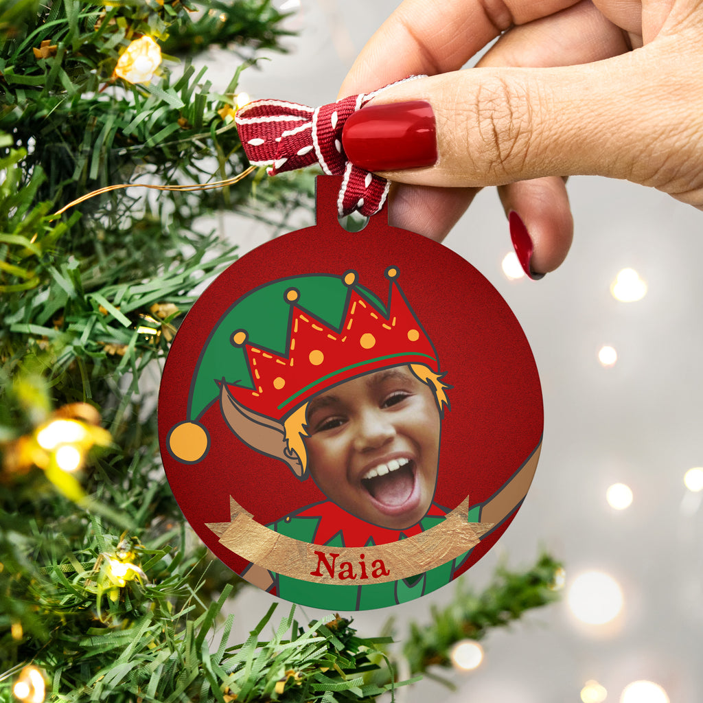 Personalised Elf Photo Family Christmas Bauble