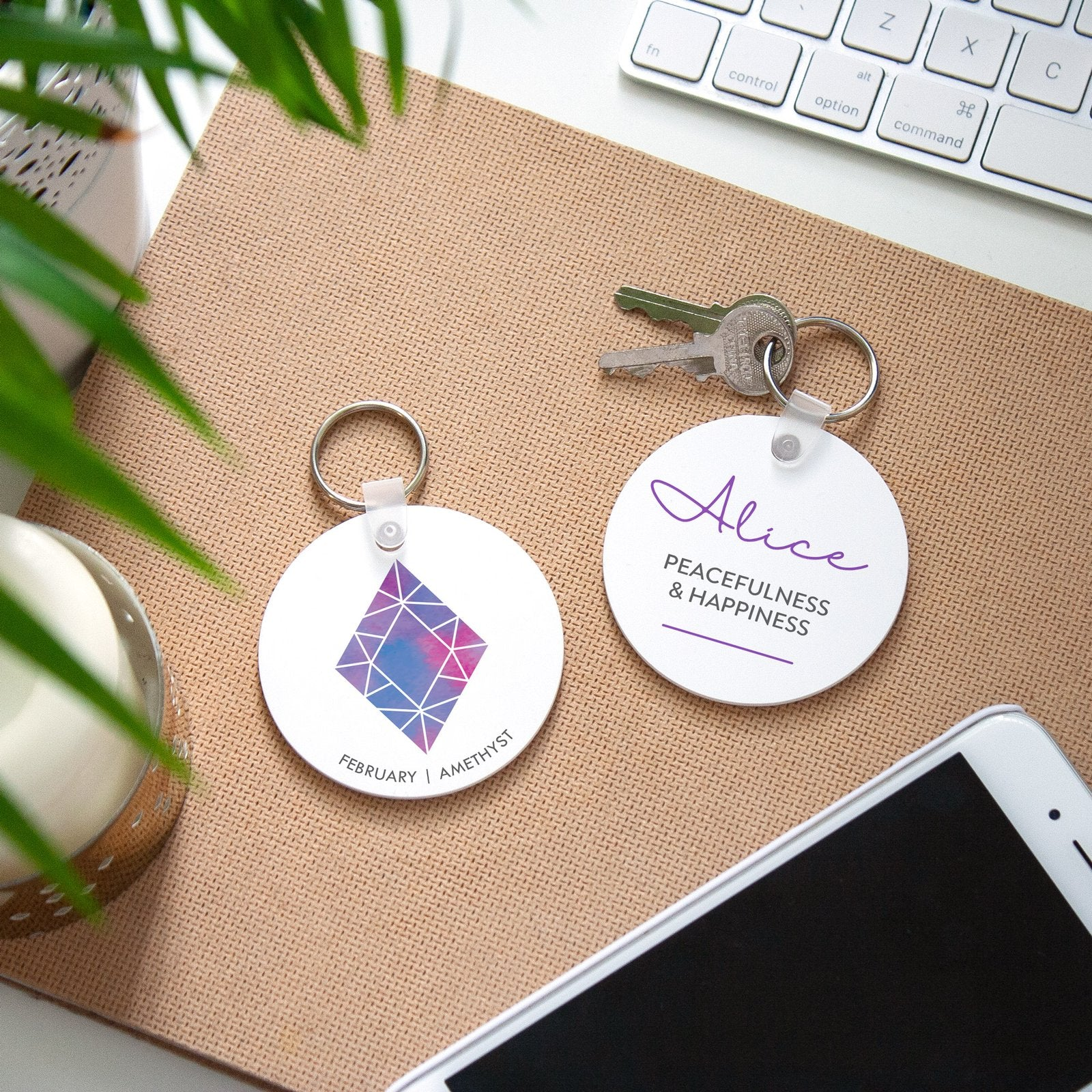 February birth month birthday personalised affordable keyring gift