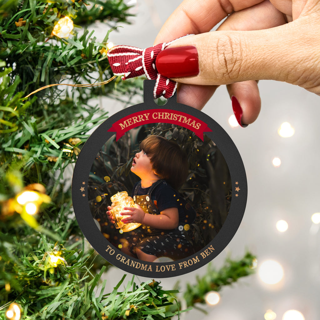 Personalised Photo Bauble Christmas Gift for Grandma