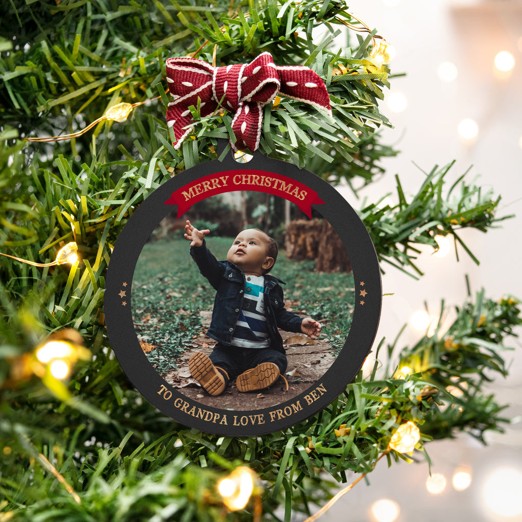 personalised photo bauble christmas gift for grandad