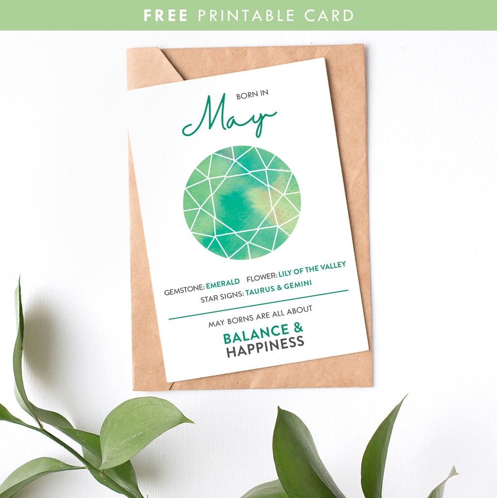 May Birth Month Fun Facts and Gift Guide Free Printable Card