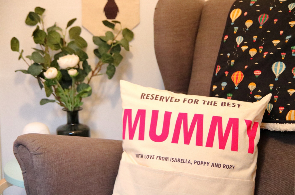 Personalised 'Reserved for Mummy/Grandma' Velveteen Pocket Cushion