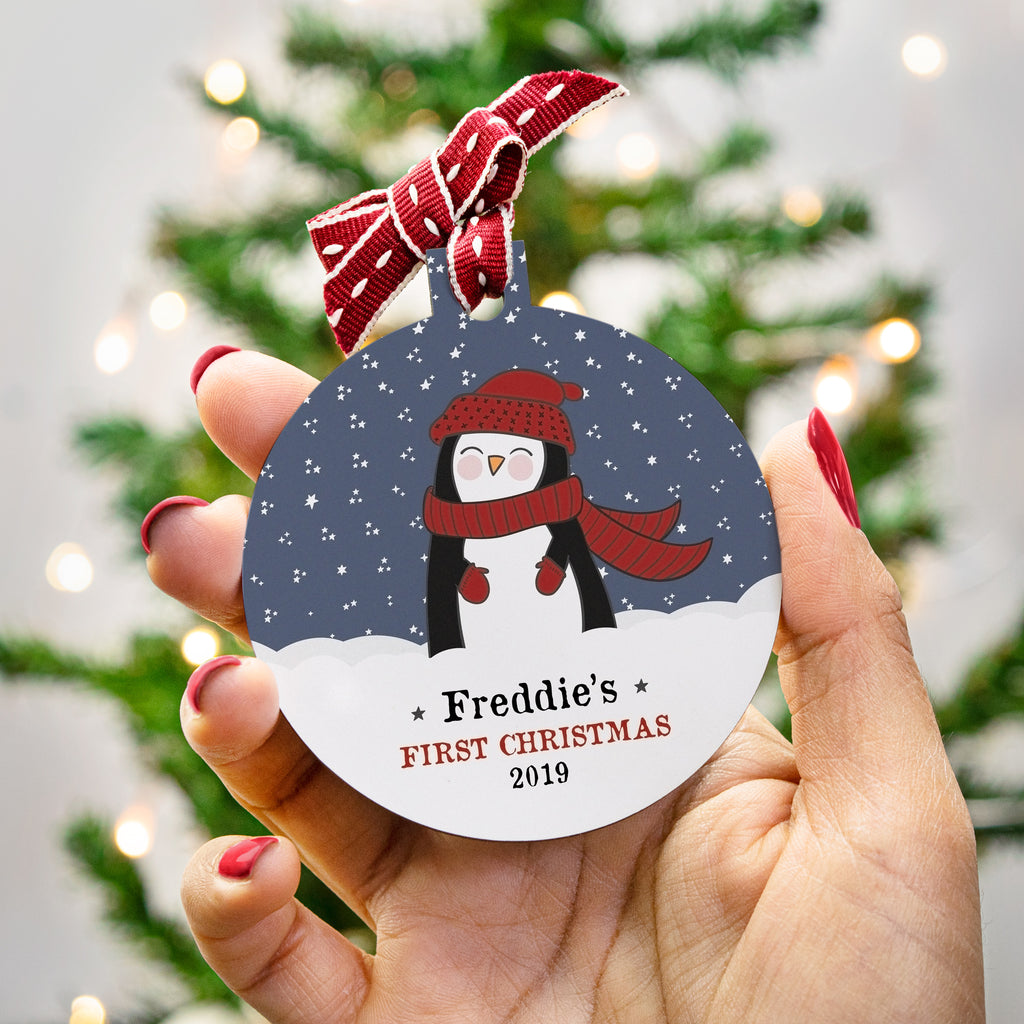 Personalised First Christmas Illustrated Bauble