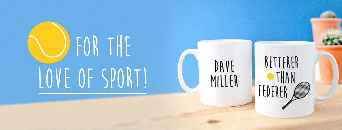 Personalised Gifts for fans of Wimbledon Tennis, Running, Cycling and other sports