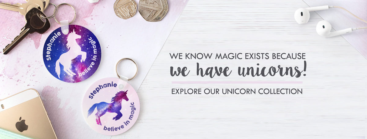 Personalised Unicorn themed gifts