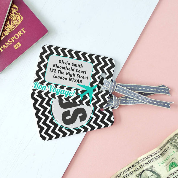 Personalised Funky Cool Black and white Chevron Luggage Tag