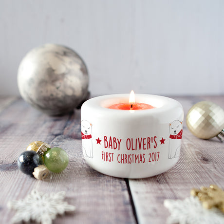 baby's first christmas candle