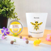 "'Bee' Positive Personalised Flower Pot ""Strong, Happy, Positive"""
