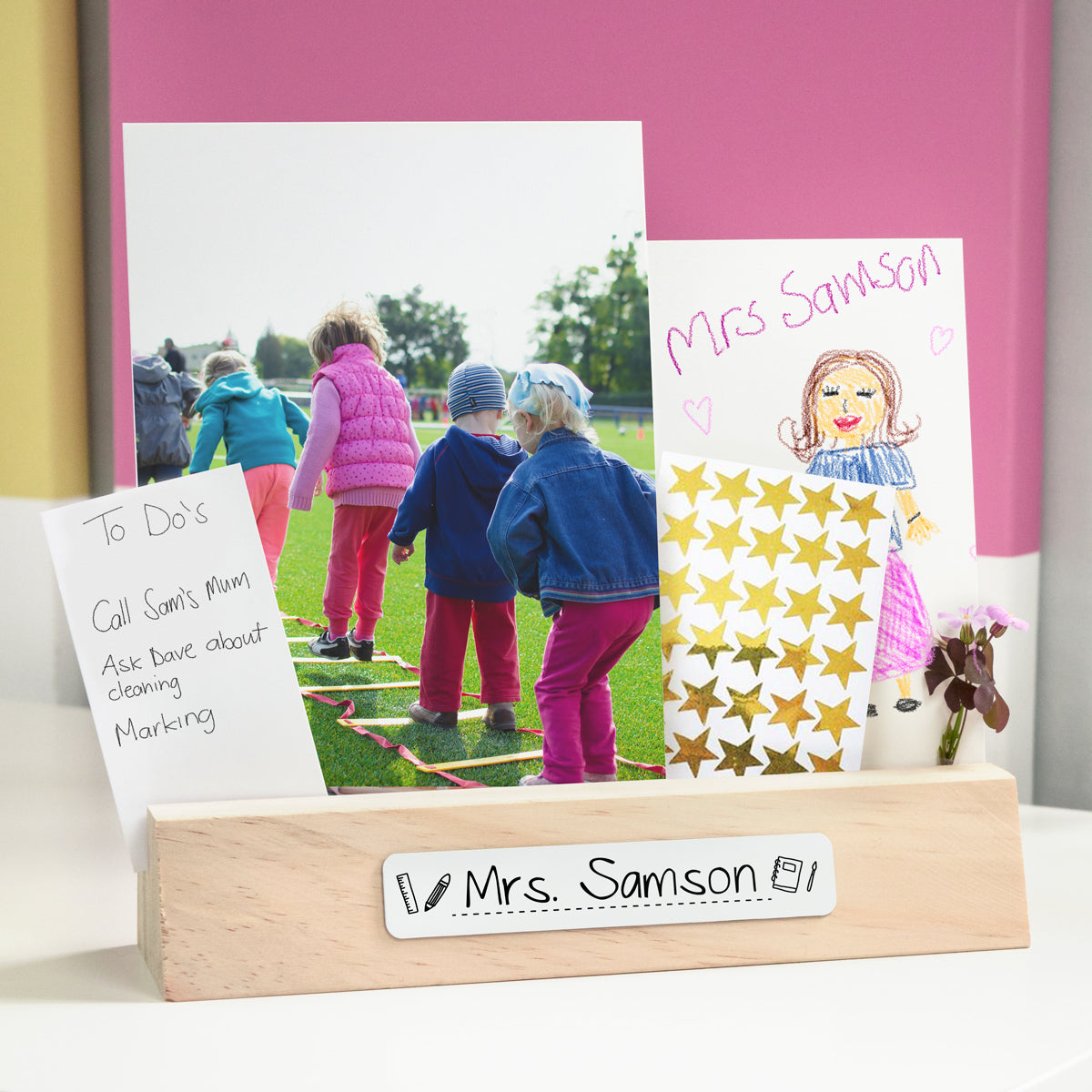 Teacher Wooden Personalised Name Plate Photo Holder