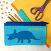 Children's Personalised Triceratops Dinosaur Fabric Pencil Case