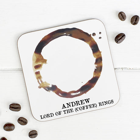 Personalised 'Lord Of The Coffee Rings' Coaster
