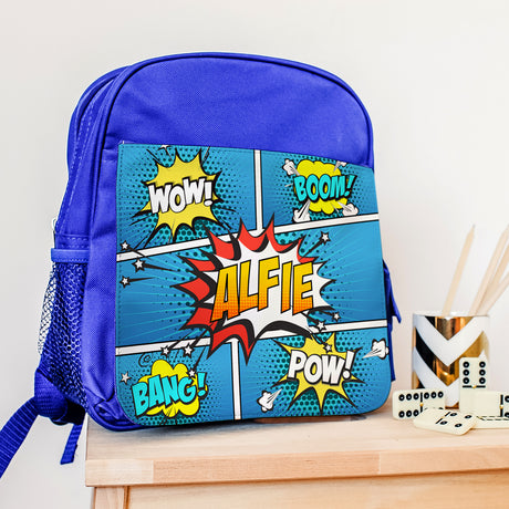 Personalised Blue 'Comic' Backpack