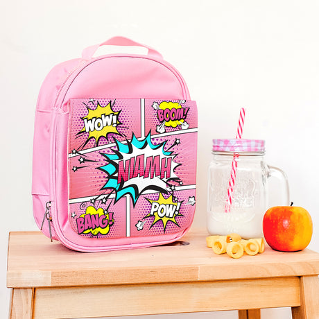 Personalised Pink 'Comic' Lunch Bag