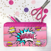 Personalised Pink 'Comic' Children's Fabric Pencil Case