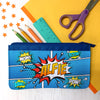 Personalised Blue 'Comic' Children's Fabric Pencil Case