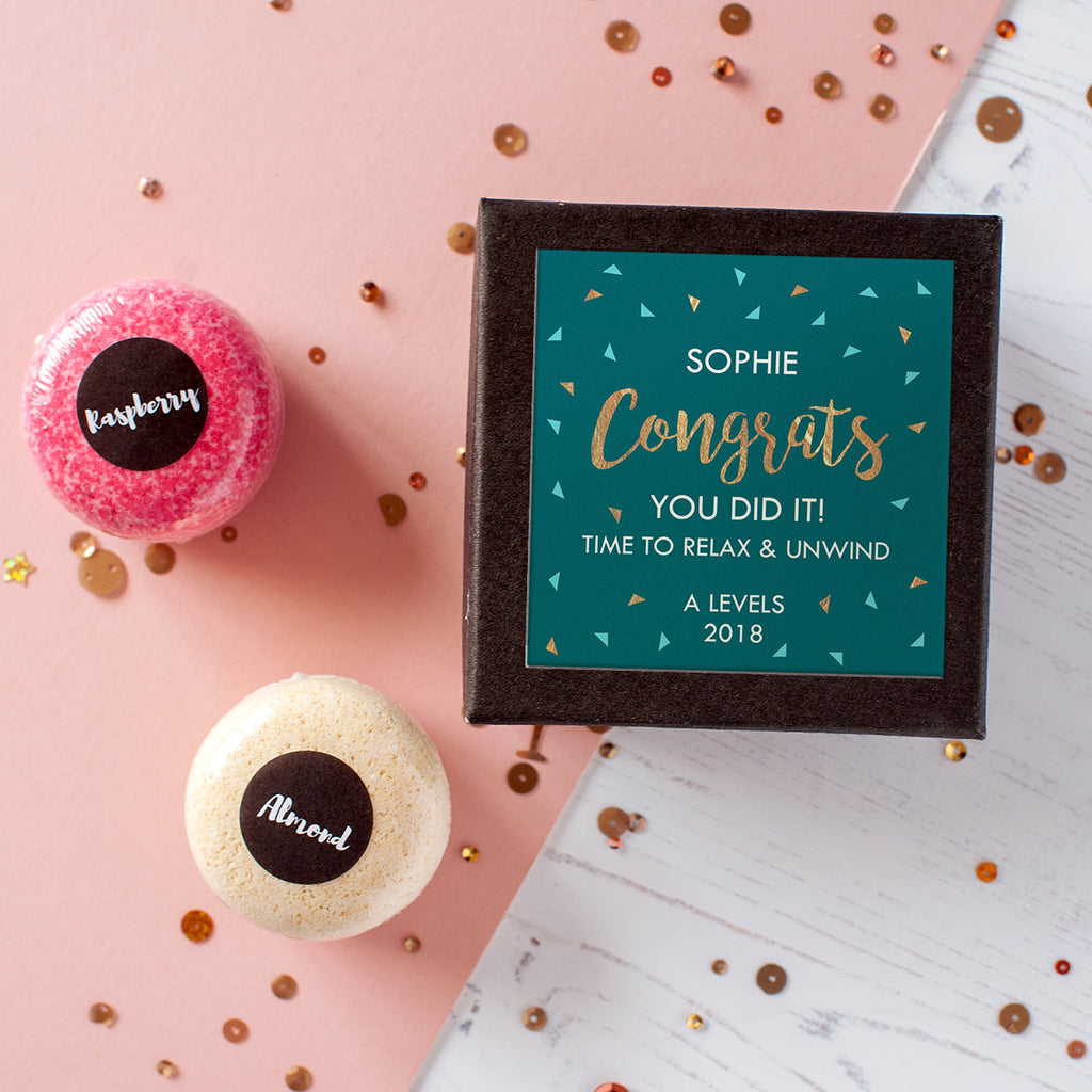 Personalised 'Congrats' Bath Bomb Macarons In Gift Box