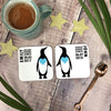 Personalised Penguin Couple Coaster Set
